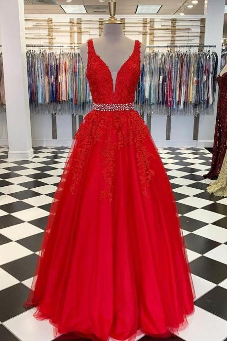 Pd91221 Red Prom Dress,Tulle Wedding Dresses,Appliques Prom Dresses,V-Neck Prom Gown