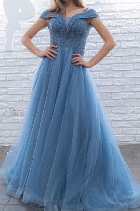 Pd91222 Blue Prom Dress,Tulle Wedding Dresses,Beading Prom Dresses,Off the Shoulder Prom Gown
