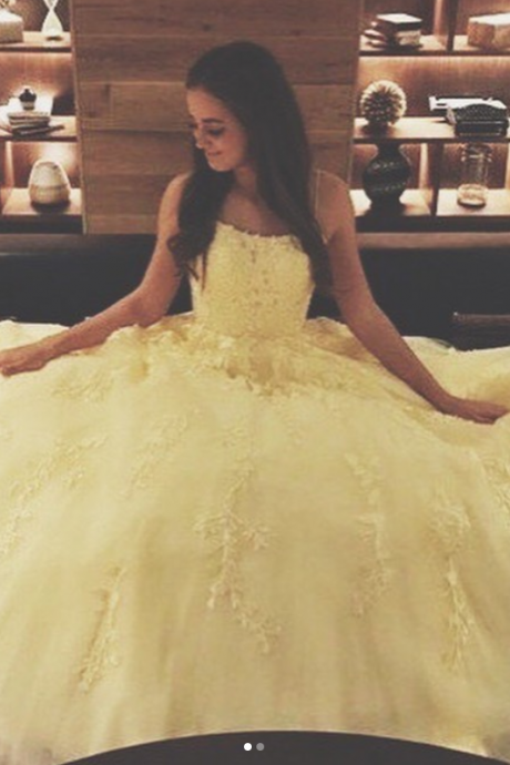 Pd91223 Yellow Prom Dress,Tulle Wedding Dresses,Appliques Prom Dresses,Spaghetti Straps Prom Gown