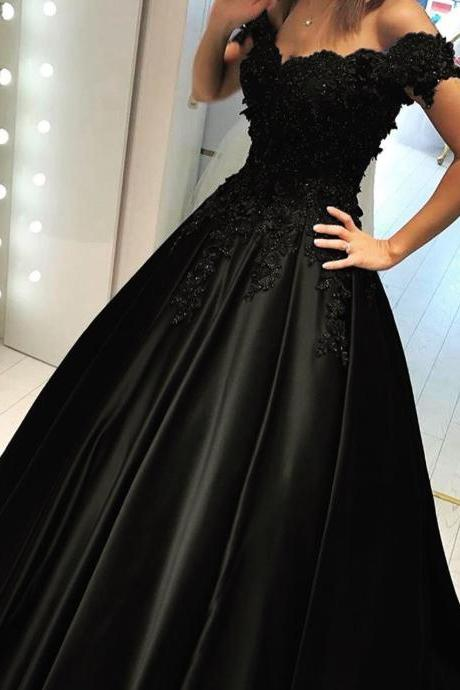 Pd91225 Black Prom Dress,Satin Wedding Dresses,Appliques Prom Dresses,Off the Shoulder Prom Gown