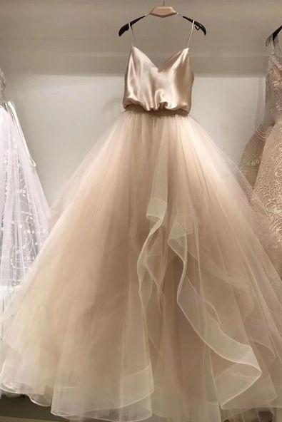 Pd91228 Champagne Prom Dress,Tulle Wedding Dresses,Spaghetti Straps Prom Dresses,A-Line Prom Gown