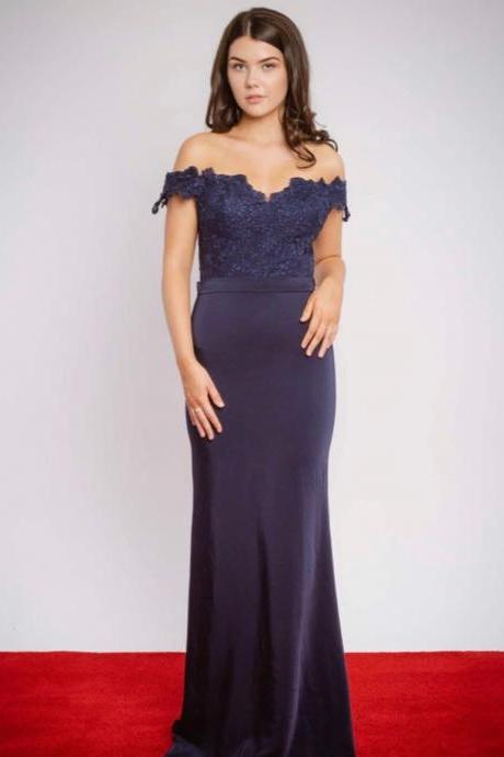 Pd91230 Navy Prom Dress,Satin Wedding Dresses,Mermaid Prom Dresses,Appliques Prom Gown