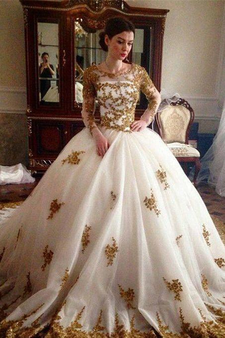 Pd91231 Charming Prom Dress,Tulle Wedding Dresses,Ball Gown Prom Dresses,Appliques Prom Gown