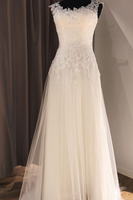 Pd91238 Romantic Wedding Dress,Tulle Wedding Dresses,Appliques Prom Dresses,A-Line Prom Gown