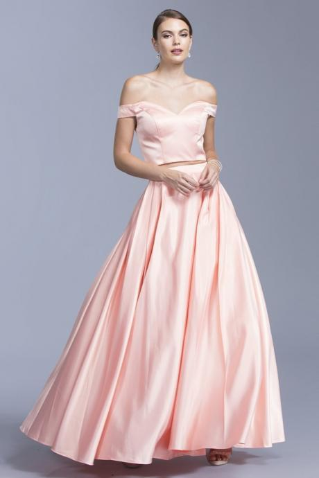 Pd200105 Two Pieces Prom Dress,Satin Wedding Dresses,A-Line Prom Dresses,Off the Shoulder Prom Gown