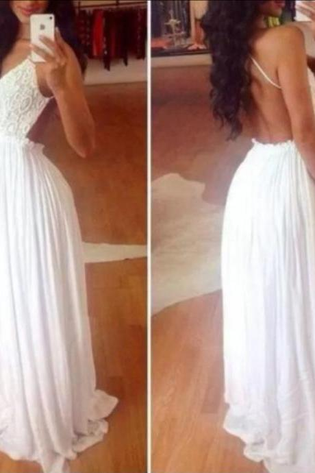 Pd10195 High Quality Prom Dress,Chiffon Prom Dress,A-Line Prom Dress,Backless Prom Dress,V-Neck Prom Dress