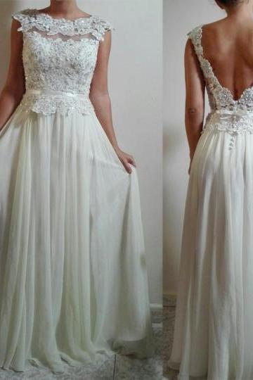 Pd10291 Charming Prom Dress,Chiffon Prom Dress,Appliques Prom Dress,O-Neck Prom Dress,Backless Prom Dress