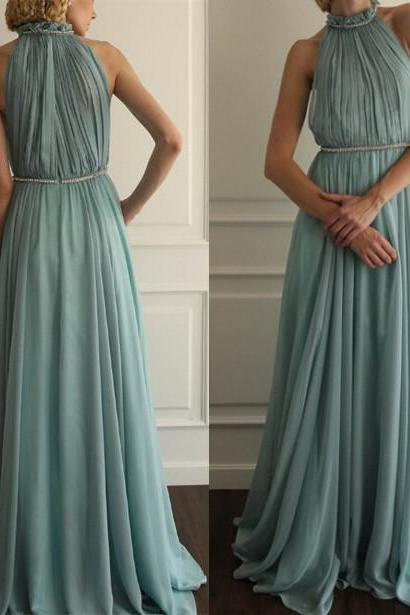 Pd11173 Charming Prom Dress,Chiffon Prom Dress,A-Line Prom Dress,High-Neck Prom Dress,Pleat Prom Dress