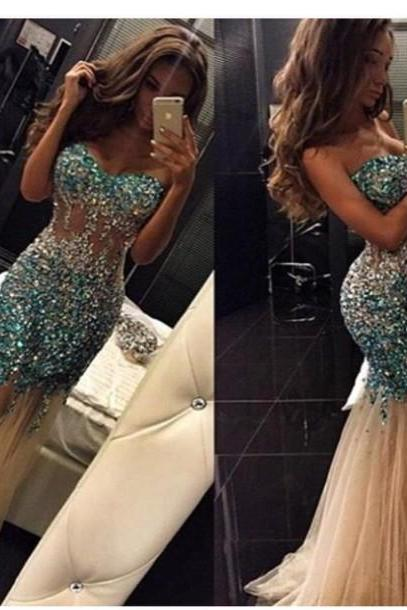 Pd11271 Charming Prom Dress,Sweetheart Prom Dress,Sexy Mermaid Prom Dress,Beading Prom Dress,Tulle Prom Dress