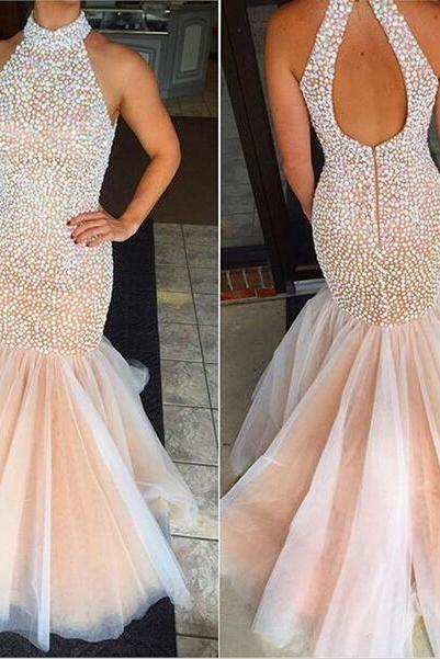 Pd12215 Charming Prom Dress,Halter Prom Dress,Mermaid Prom Dress,Beading Prom Dress,Halter Prom Dress