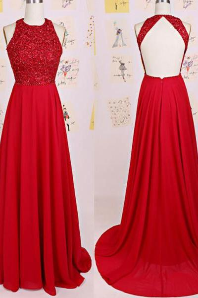 Pd01053 Charming Prom Dress,O-Neck Prom Dress,A-Line Prom Dress,Chiffon Prom Dress,Backless Evening Dress