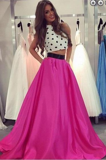 Pd01081 Charming Prom Dress,Two-Pieces Prom Dress,A-Line Prom Dress,Satin Prom Dress,Halter Evening Dress