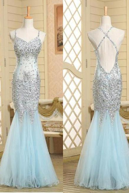 Pd603233 Charming Prom Dress,Spaghetti Strap Prom Dress,Beading Prom Dress,Tulle Prom Dress,Mermaid Evening Dress