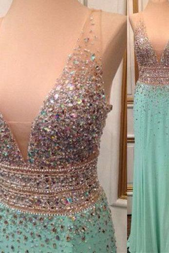 Pd603236 Charming Prom Dress,V-Neck Prom Dress,Beading Prom Dress,Chiffon Prom Dress,A-Line Evening Dress