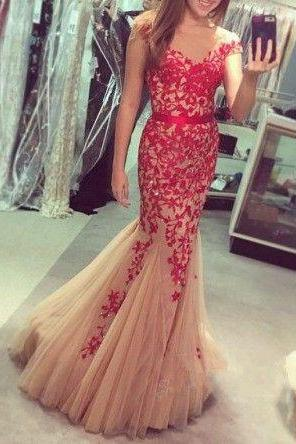 Pd603185 Charming Prom Dress,O-Neck Prom Dress,Appliques Prom Dress,Tulle Prom Dress,Mermaid Evening Dress