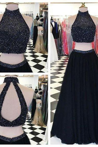 Pd603315 Charming Prom Dress,High-Neck Prom Dress,Beading Prom Dress,2 Pieces Prom Dress,Tulle Evening Dress