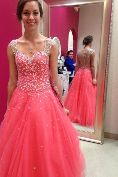Pd6071 High Quality Prom Dress,Tulle Prom Dress,A-Line Prom Dress,Beading Prom Dress, Sweetheart Evening Dress