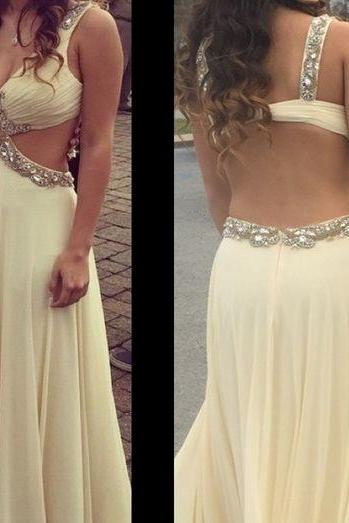 Pd60716 High Quality Prom Dress,Chiffon Prom Dress,A-Line Prom Dress,Beading Prom Dress, Backless Evening Dress