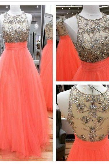 Pd60803 Charming Prom Dress,o-neck Prom Dress,Tulle Prom Dress,Beading Prom Dress,A-Line Evening Dress
