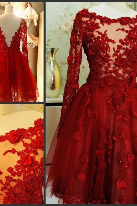 Pd60913 Charming Prom Dress,Appliques Prom Dress,Long-Sleeves Prom Dress,Tulle prom Dress,A-Line Evening Dress