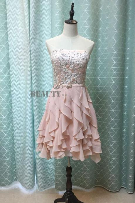 Hd60919 High Quality Homecoming Dress,Chiffon Homecoming Dress,Strapless Graduation Dress,Appliques Prom Dress