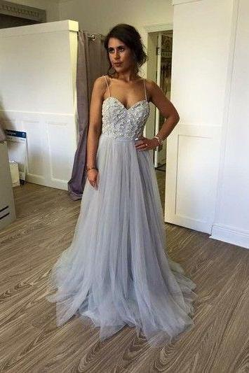 Pd60924 Charming Prom Dress,Appliques Prom Dress,Spaghetti Straps Prom Dress,Tulle prom Dress,A-Line Evening Dress