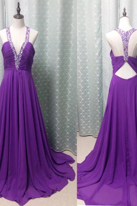 Pd61042 Charming Prom Dress,Beading Prom Dress,Chiffon Prom Dress,V-Neck Evening Dress