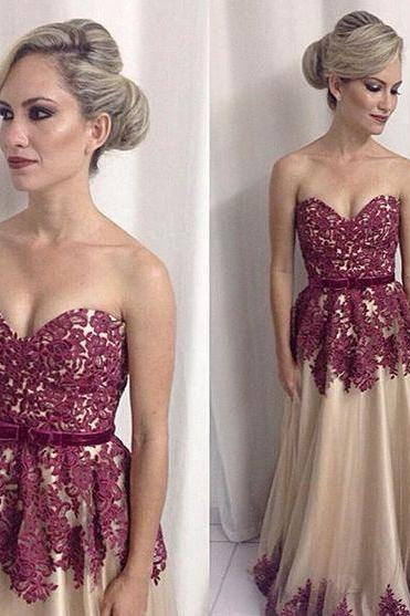 Pd61149 Charming Prom Dress,A-Line Prom Dress,Sweetheart Prom Dress,Applqiues Evening Dress