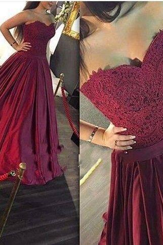 Pd61224 Charming Prom Dress,Sweetheart Prom Dress,Appliques Prom Dress,Satin Evening Dress