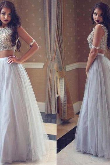 Pd70102 Charming Prom Dress,2 Pieces Prom Dress,Beading Prom Dress,Tulle Evening Dress