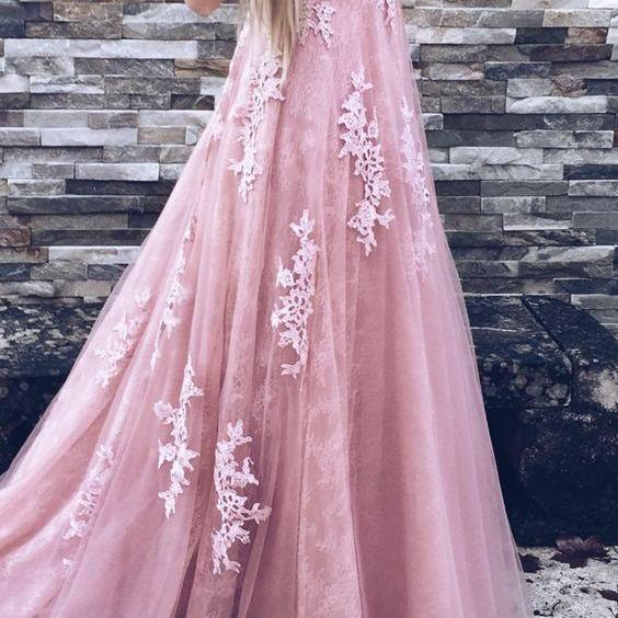 Pd70604 Charming Prom Dress,Tulle Prom Dress,A-Line Prom Dress,Appliques Evening Dress