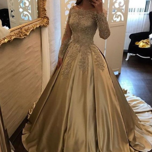 Pd80201 Charming Prom Dress,Satin Prom Dresses,Off the Shoulder Prom Dresses,Long-Sleeves Evening Dress