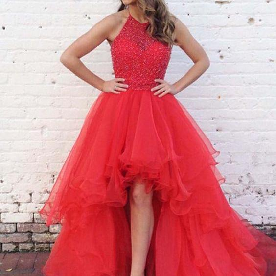 Pd80514 Red  Prom Dress,Tulle Evening Dresses,Halter Prom Dresses,Beading Prom Gown