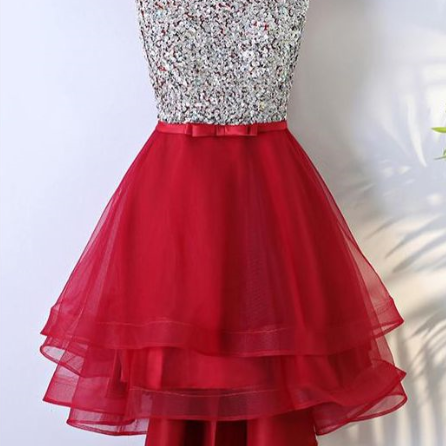 Hd80517 Red Homecoming Dress,Beading Graduation Dress,O-Neck Homecoming Dress,Tulle Graduation Dress