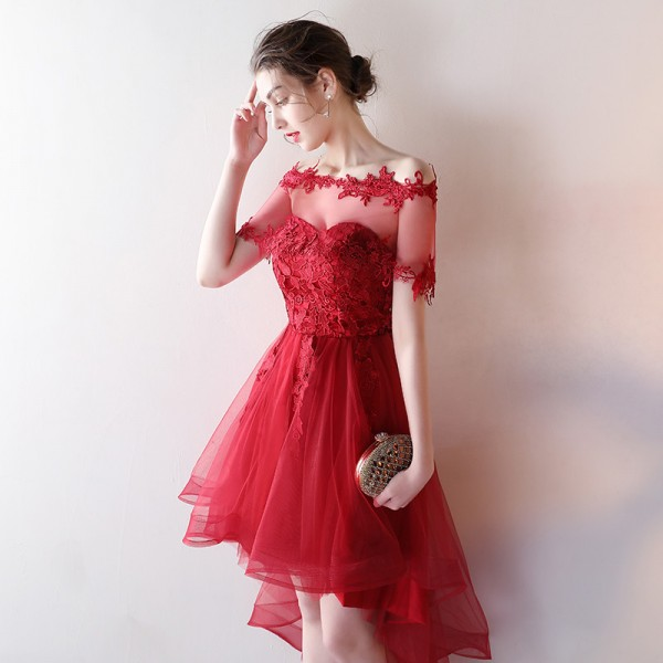 Hd80518 Red Homecoming Dress,Tulle Graduation Dress,Appliques Homecoming Dress,High/Low Graduation Dress