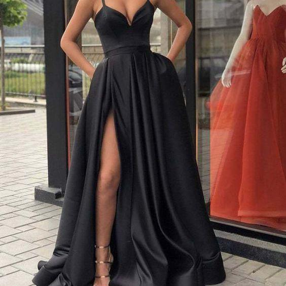 Pd81143 Black Prom Dress,Satin Evening Dresses,Spaghetti straps Prom Dresses,A-Line Prom Gown