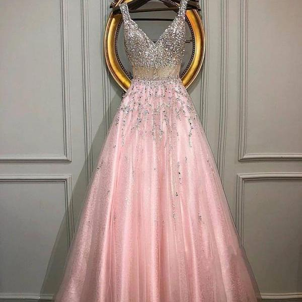 Pd91240 Charming Prom Dress,V-Neck Wedding Dresses,A-Line Prom Dresses,Beading Prom Gown