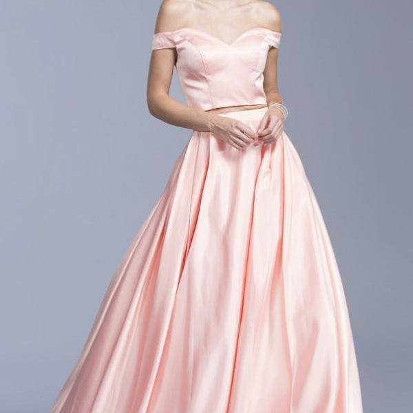 Pd200105 Two-Pieces Prom Dress,Satin Wedding Dresses,A-Line Prom Dresses,Off the Shoulder Prom Gown