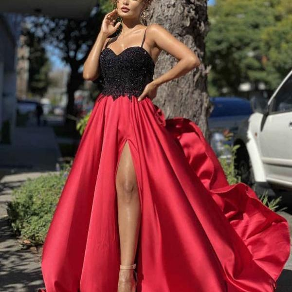 Pd35 Charming Prom Dress,Satin Wedding Dresses,A-Line Prom Dresses,Spaghetti Straps Prom Gown