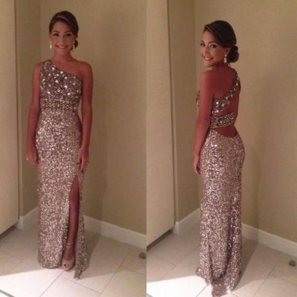 Pd383 Charming Prom Dress,Sequined Prom Dress,Mermaid Prom Dress,One-Shoulder Prom Dress,Long Prom Dress