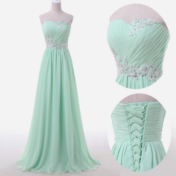 Beaded Embellished Chiffon Ruched Sweetheart Floor Length A-Line Bridesmaid Dress Featuring Lace-Up Back