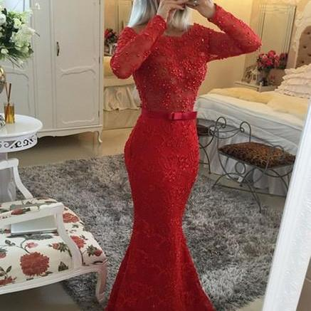 Pd01074 Charming Prom Dress,O-Neck Prom Dress,Mermaid Prom Dress,Lace Prom Dress,Long-Sleeves Evening Dress