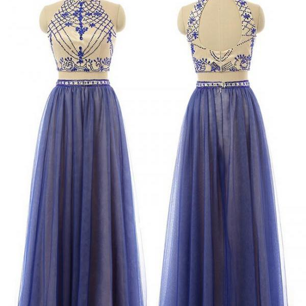 Pd01076 Charming Prom Dress,High-Neck Prom Dress,A-Line Prom Dress,Two-Pieces Prom Dress,Beading Evening Dress
