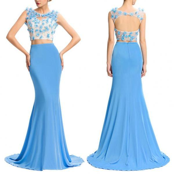 Pd01082 Charming Prom Dress,Two-Pieces Prom Dress,Mermaid Prom Dress,Chiffon Prom Dress,Appliques Evening Dress